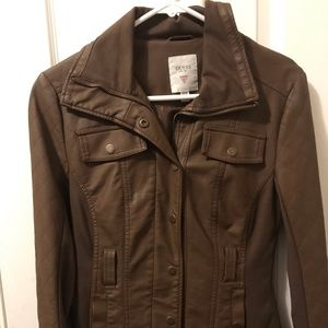 Woman guess lether jacket